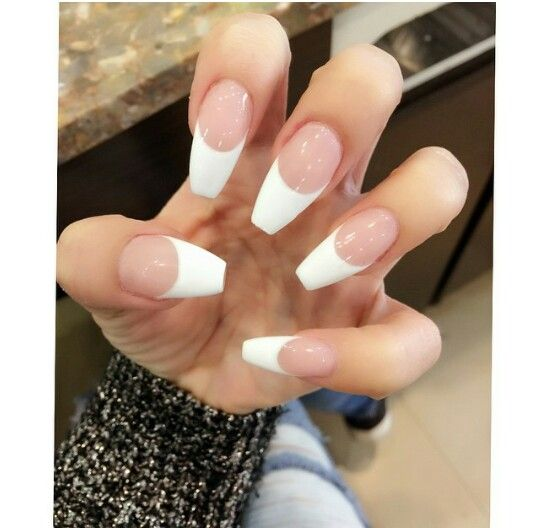 French Tip Coffin Shape Nails In 2018 Pinterest And