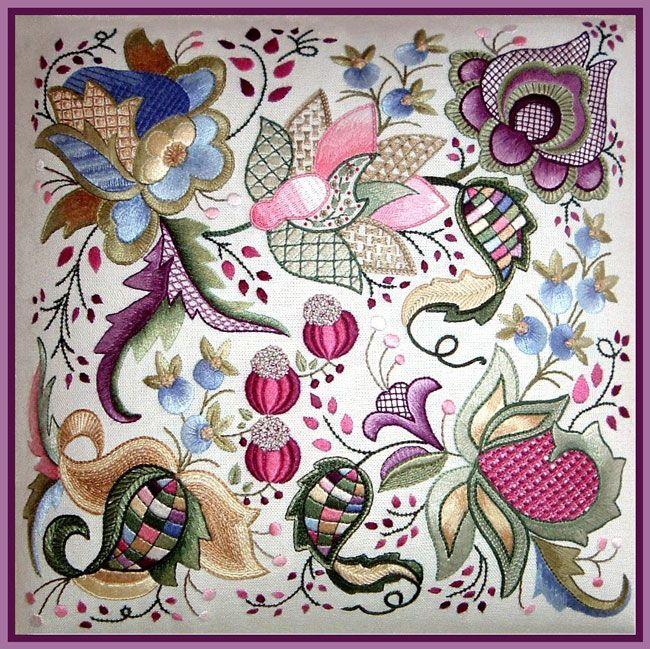 Koala Conventions - Home  Jacobean Embroidery  (footstool design) Hazel Blomkamp