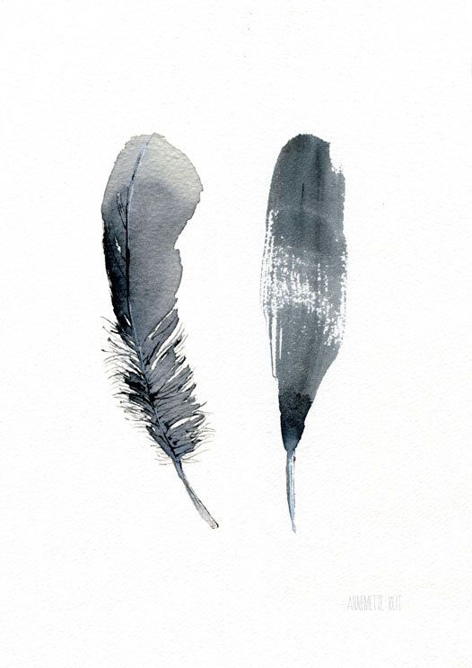 Black feathers. Feather art work. 2 black Feathers from original watercolor painting by Annemette Klit. Quality Art Print from TheClayPlay - Bird