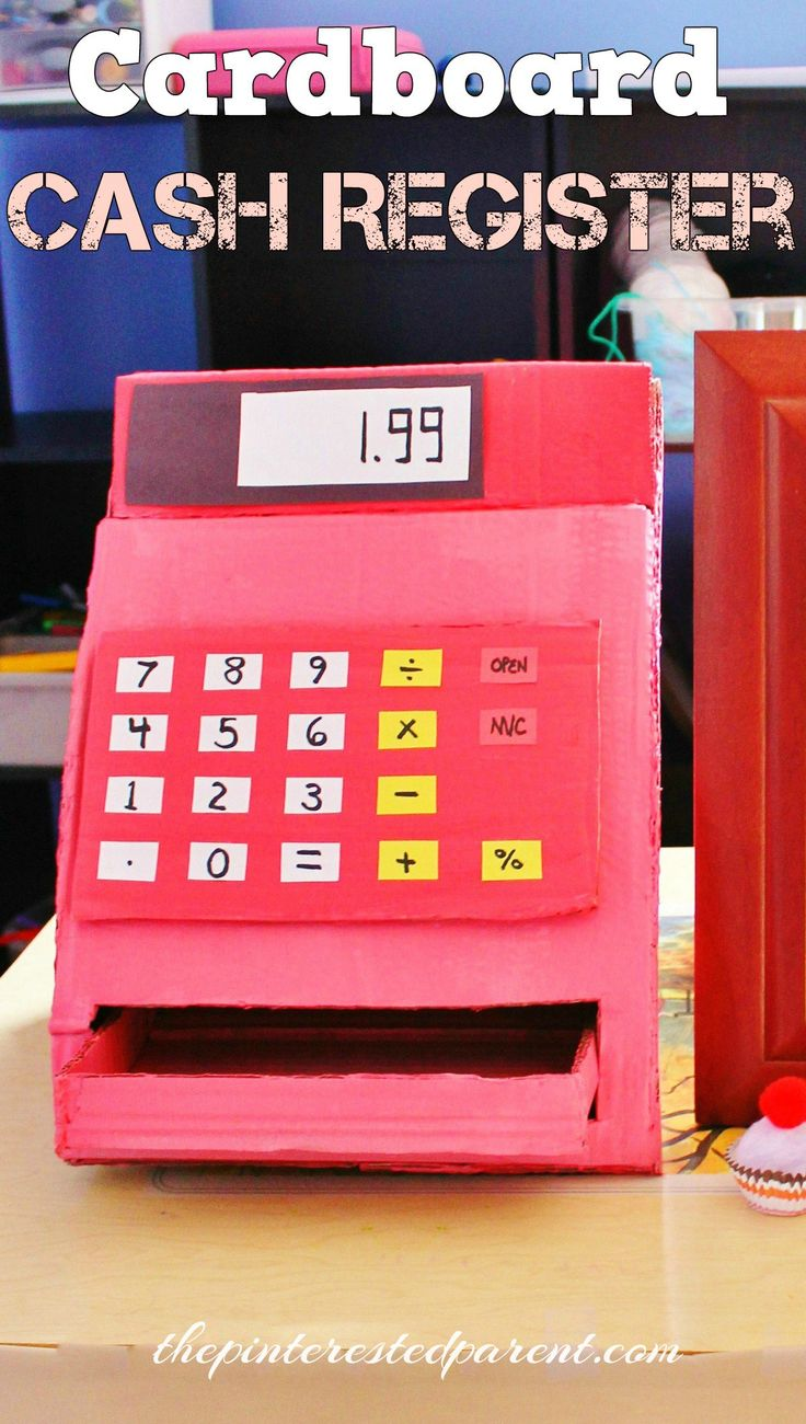 DIY Cardboard Cash Register for pretend play - made with 1 box