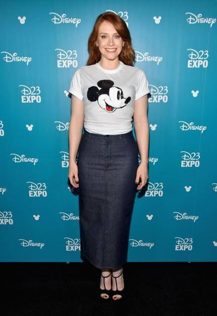 Bryce Dallas Howard looking totally adorable in a Mickey Mouse tee and a long denim skirt.