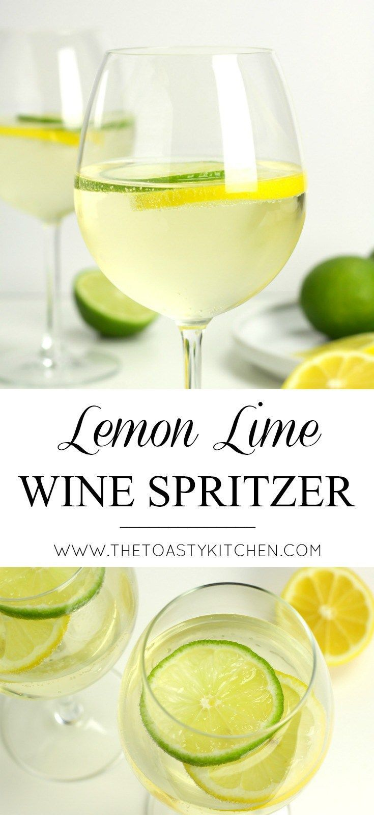 Lemon Lime Wine Spritzer by The Toasty Kitchen #drinkrecipes #drinks #wine #wine…