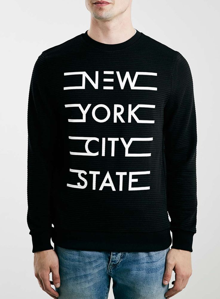 Black New York Texture Sweatshirt