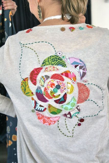quirky quilty applique....very hokey crafty old lady-ish, but I kinda like it??
