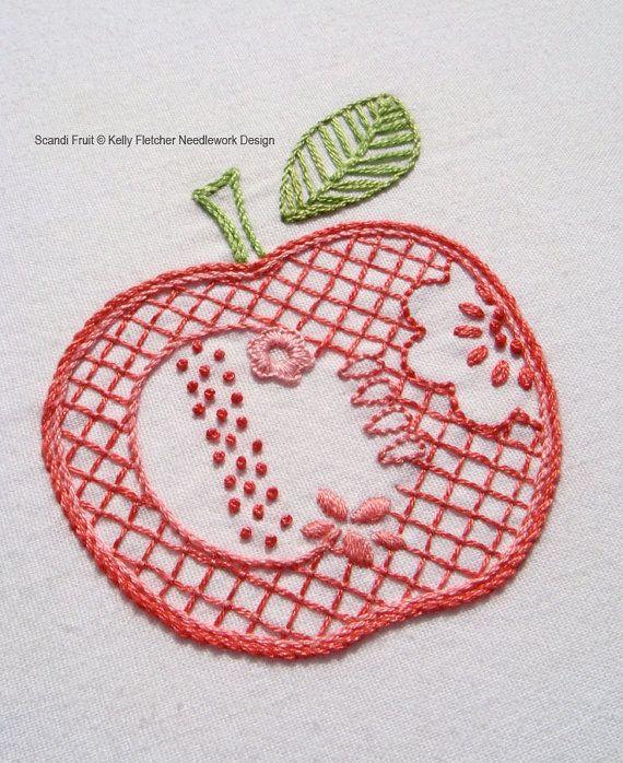 Scandi Fruit Scandinavian hand embroidery by KFNeedleworkDesign