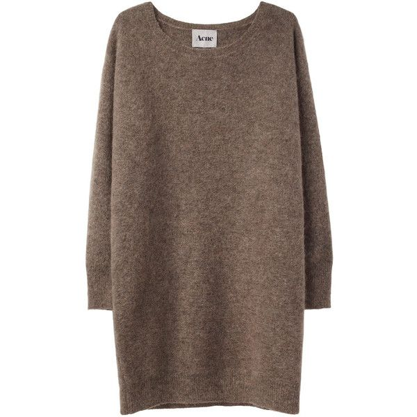 Acne Wham Mohair Sweater (2,405 GTQ) ❤ liked on Polyvore featuring tops, sweaters, dresses, shirts, brown long sleeve shirt, over sized sweaters, relax shirt, oversized sweaters and extra long sleeve shirts