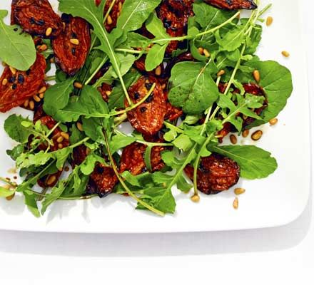 Slow-roasted tomatoes taste amazing in salads and this is no exception. A great side dish or base for a simple main
