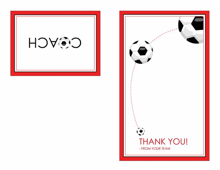 Thank you card for soccer coach (quarter-fold) - Templates ...