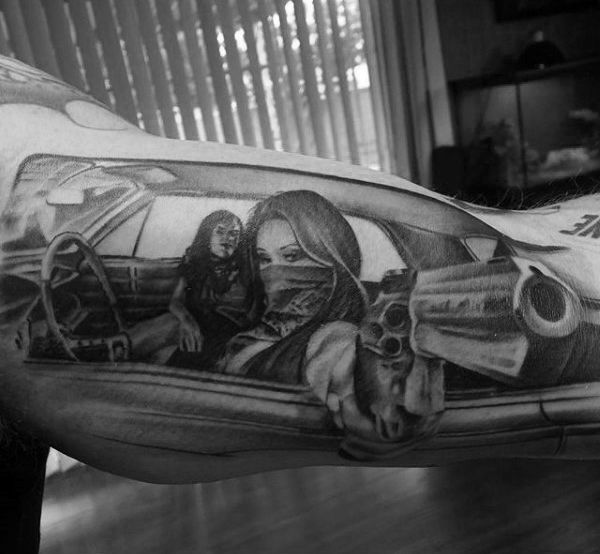Black And White 3D Pointing Revolver And Ladies In Car Tattoo Mens Forearms