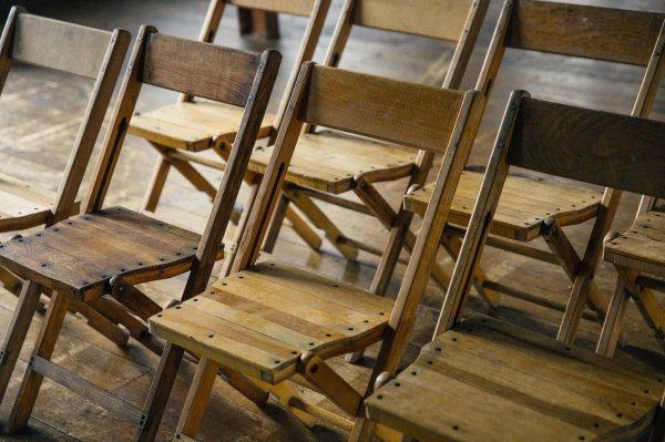Vintage folding chairs for hire shot in warehouse in London #wedding #chair #hire #rustic #vintage #wooden #table #furniture #events #trestle #beautiful
