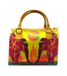 Buy Digital Stylish Handbag with Brass Studs (Yellow) handbag online