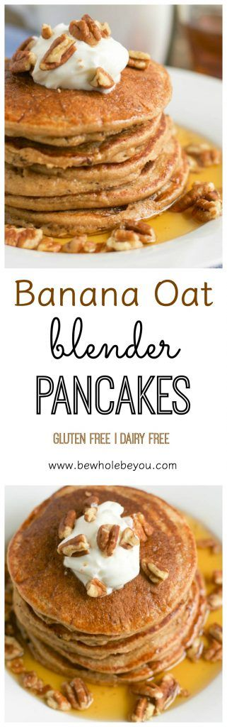 Banana Oat Blender Pancakes. A simple delicious breakfast is minutes away. Toss the ingredients in the blender and then throw the pancakes on the griddle. So simple! bewholebeyou.com