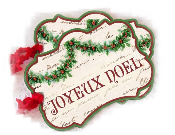 Joyeux Noel Tags French Christmas tags Christmas door lacegrl130, $4,50