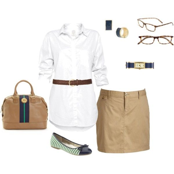 Khaki Skirt, created by amy-devito-haustetter on Polyvore