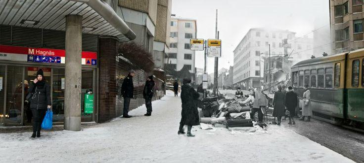 Porthaninkatu / 16.2.1944 / Yhdistetty miina- ja palopommien täysosuma tuhosi Porthaninkadun ja III-linjan kulmatontilla olevan  kaksikerroksisen puutalon. Pommituksessa menehtyi kaksi henkilöä. Kolmannen linjan puoleisen kerrostalon porraskäytävässä oleskelleista asukkaista kaksi haavoittui.