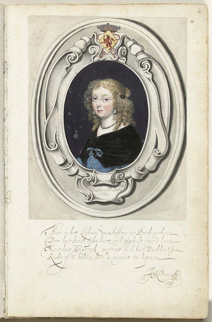 Zelfportret van Gesina ter Borch in cartouche