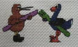 Kiwi and Pukeko Cross stitch pattern. Measures 5cm by KraftyKiwis
