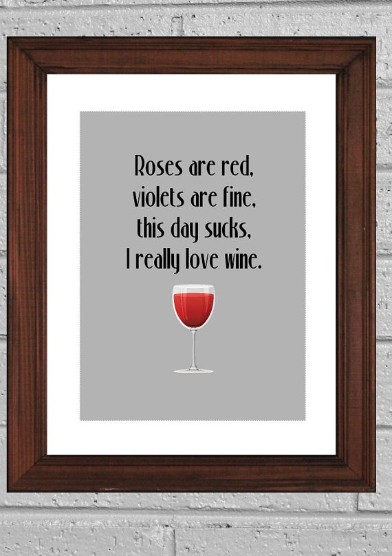 Funny Art Print, I love Wine Typography print, Wall decor, kitchen art print 8x10in