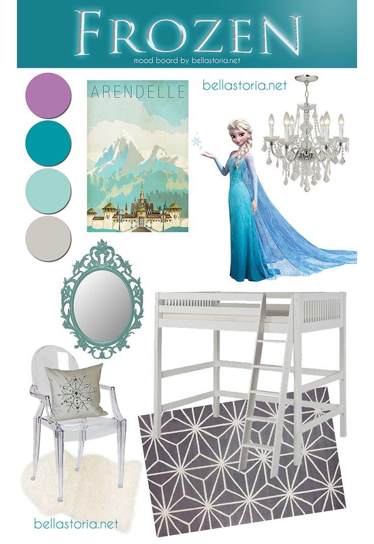 Frozen mood board inspired girl's room by BellaStoria.net - so pretty! #frozen #elsa