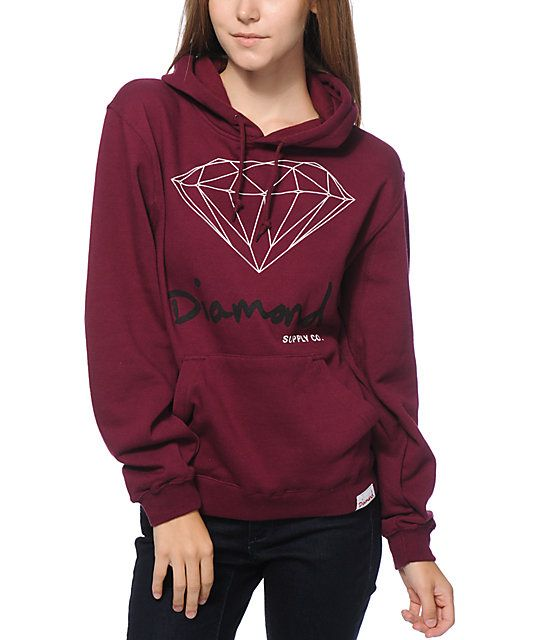 Crafted with a soft fleece construction for comfort, this burgundy colored pullover hoodie flaunts a Diamond graphic and script at the…