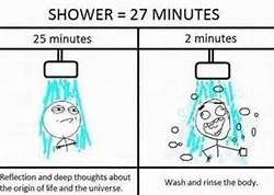 Shower = 27 minutes: 25 minutes for reflection and deep thoughts about the origin of life and the universe + 2 minutes to wash & rinse. So true!!!