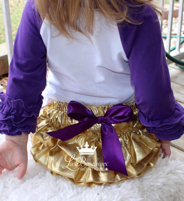 Gold Metallic Ruffle Bloomers, Gold and Purple Mardi Gras Ruffle Bloomers, LSU Ruffle Bloomers, Gold Metallic Mardi Gras Bloomer by LaBandeauxBowtique on Etsy