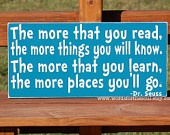 Dr Seuss The More That you Read Know Learn Go Wooden Typography Subway Art Sign Kid's Room Playroom Classroom Nursery Suess