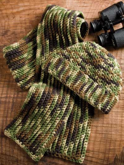 men's+camo+hat+and+scarf+pattern | Free Crochet Man's Camo Hat and Scarf Pattern