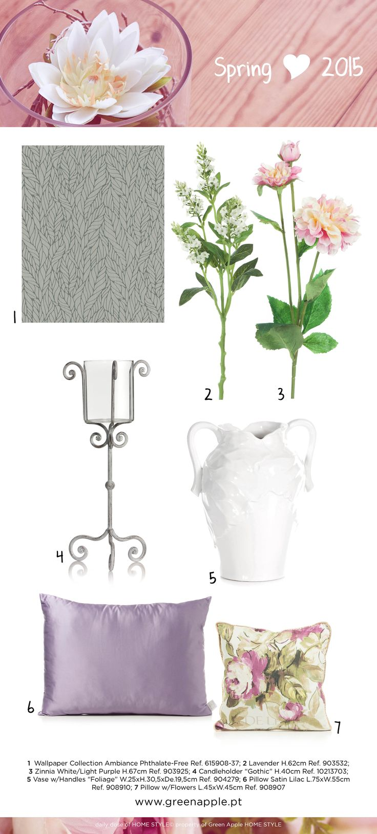 Green Apple HOME STYLE ♥ Spring 2015 #InspiringCollections #InteriorDecoration #Furniture #Portugal #Spring #Pillows #FauxFlowers #Wallpaper #DecorativeVase #CandleHolder
