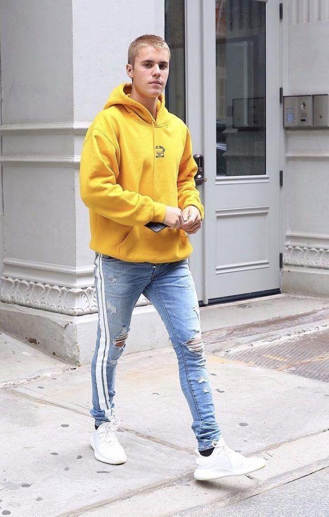f6aa66b3b2097 Justin Bieber Wears Amiri Jeans and Adidas Yeezy Boost 350 Sneakers in NYC