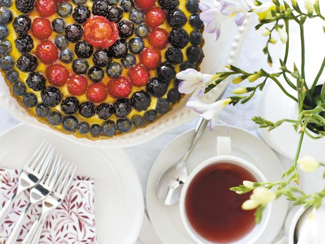 Very berry tart: Take a ready-made piecrust, add a vanilla-pudding filling and top with a rainbow of berries for a cool and colorful dessert.