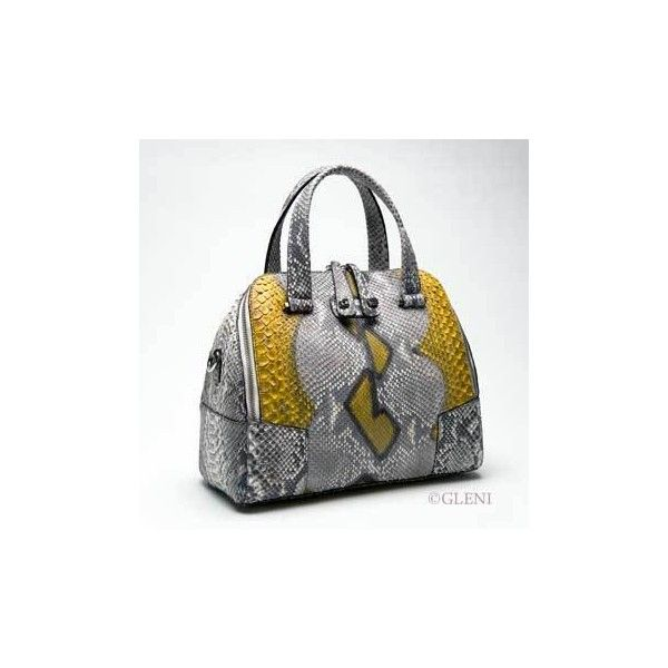 Dynamic and original python bag in grey and yellow tones (€1.244) ❤ liked on Polyvore featuring bags and handbags