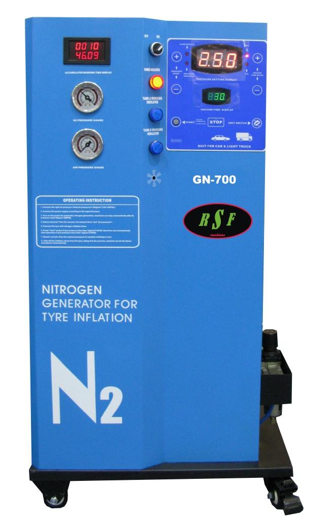 Se aplica la tecnología más avanzada en el generador e inflador GN-700 de RSF MAQUINARIA para tener un alto rendimiento en la generación de nitrógeno e inflación de ruedas. Para el usuario representa la ventaja de mejorar la conducción del vehículo con mayor seguridad, alargando la vida útil de los neumáticos y reduciendo el consumo de combustible al mantener constante la presión.  Además elimina el riesgo de óxido de los elementos metálicos.