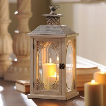 Antiqued Cream Lantern | Kirklands  I LOVE these.  They are HUGE too.  $16 on sale.