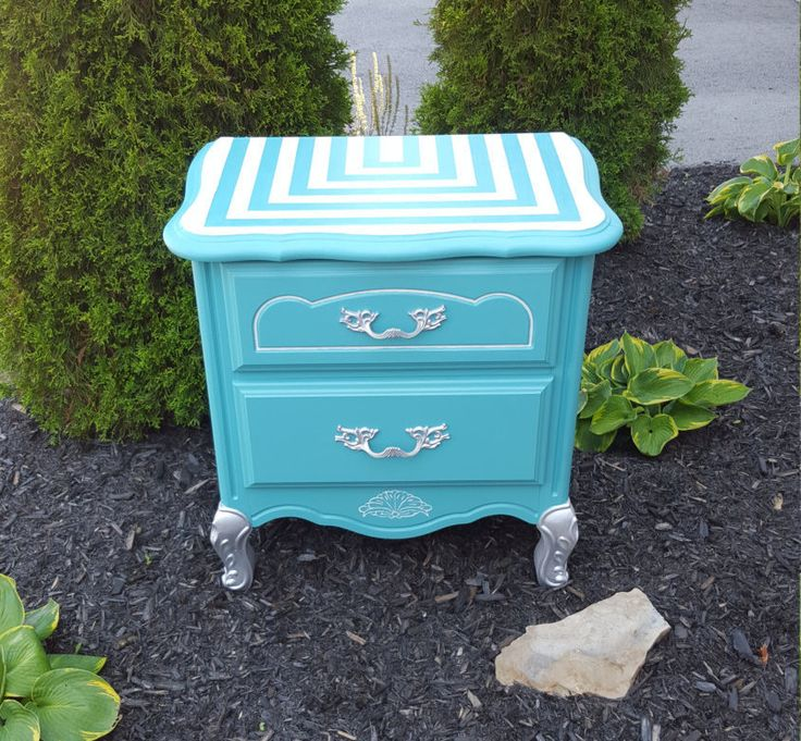 French Style Bedside Table Hand Painted Teal Side Table Nightstand Nursery…