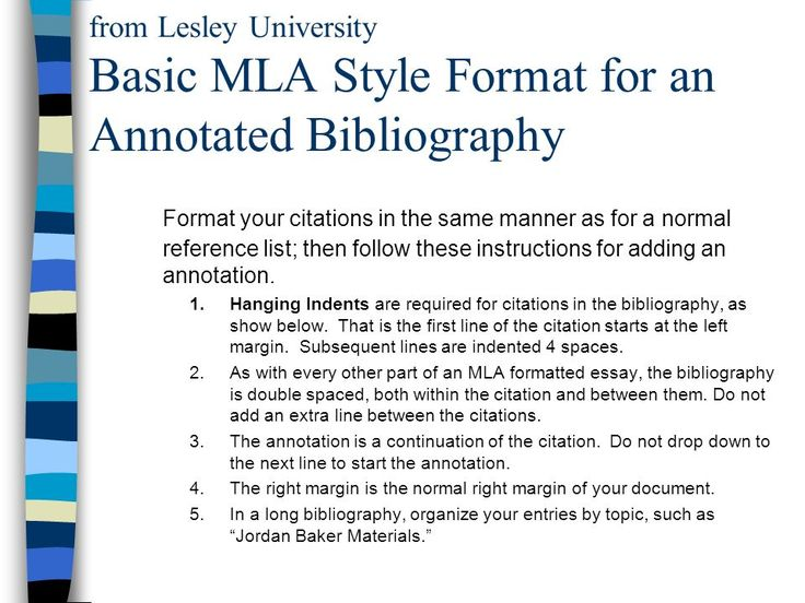 Mla annotated bibliography websites