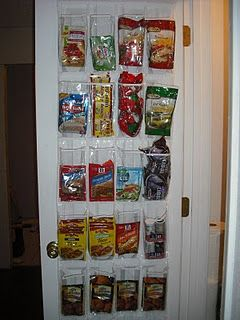 Organize The Spices With An Over The Door Shoe Organizer