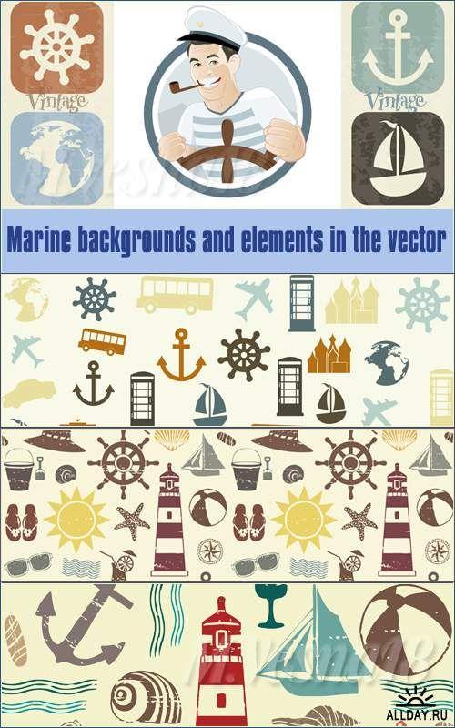 Морские фоны и элементы в векторе/Marine background and elements in the vector stock.