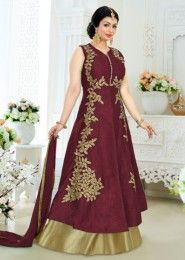 Party Wear Maroon Banglori Silk Embroidered Work Anarkali Suit