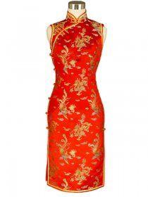 Dragon and Phoenix Brocade Cheongsam, mini chinese dress , sleeveless qipao