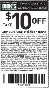 Dicks Sporting Goods Printable Coupon for either 20% off your total purchase with the coupon (http://www.pinterest.com/pin/118641771407435446/) or Coach's Certificate for $10 off .  More Dicks Coupons here - http://www.chachingqueen.com/tag/dicks-sporting-goods/