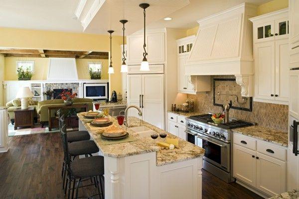 Open floor planDreams Kitchens, Kitchens Design, Floors Plans, Kitchens Remodeling, Wooden Floors, Living Room, Kitchens Islands, Open Kitchens, House Plans