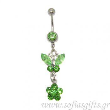 Piercing Κοιλιάς πεταλούδαμε μαργαρίτα πράσινη με στρας  body piercing