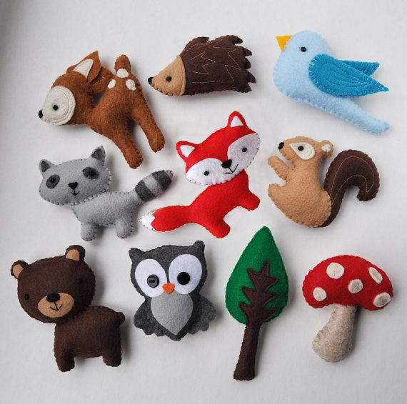 Customized Hanging Woodland Mobile - CHOOSE YOUR ANIMALS - Deer, Bear, Squirrel, Porcupine, Owl, Bird, Fox, Raccoon, Tree, and Mushroom