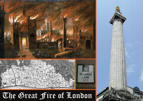 Pudding Lane in the City of London where the Great Fire of London started in 1666 and The Monument to it