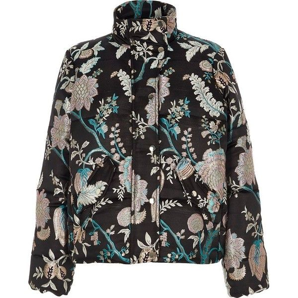 c5968920d River Island Black floral jacquard puffer jacket (485 PEN) ❤ liked ...