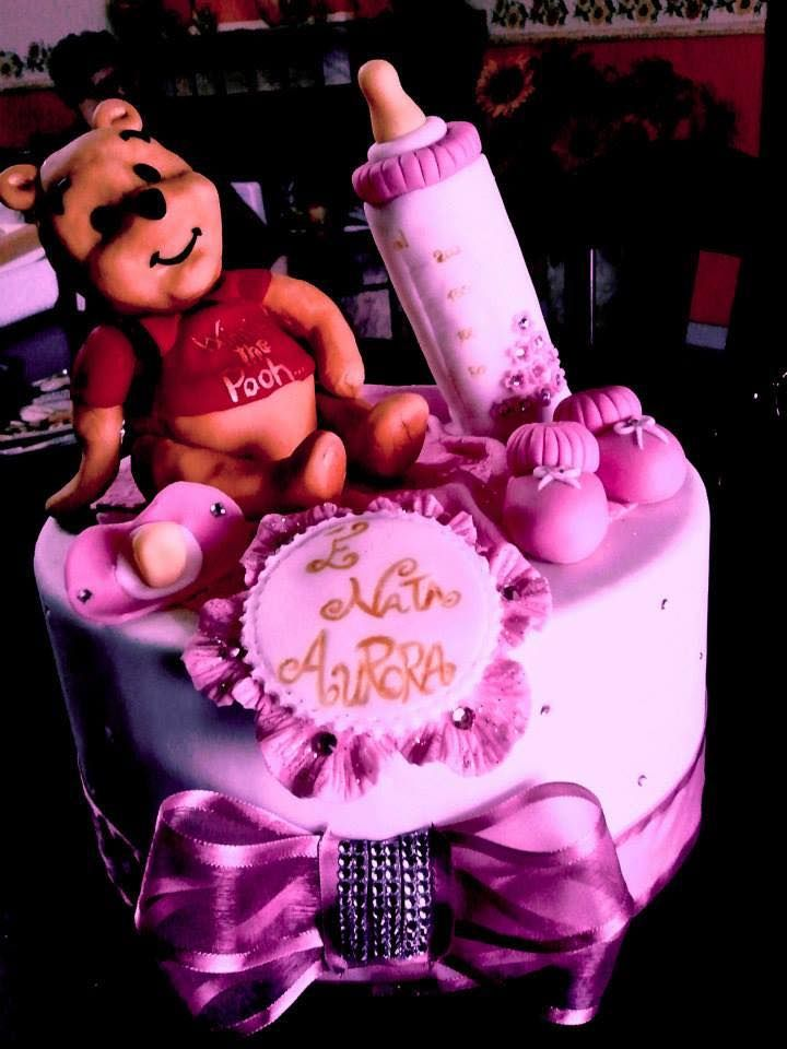 Winnie The Pooh Art Cake  Baby Coming  Pink