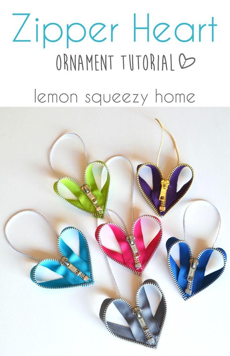 Zipper Heart Ornament Tutorial | @cw262dh | Last minute DIY ornament project