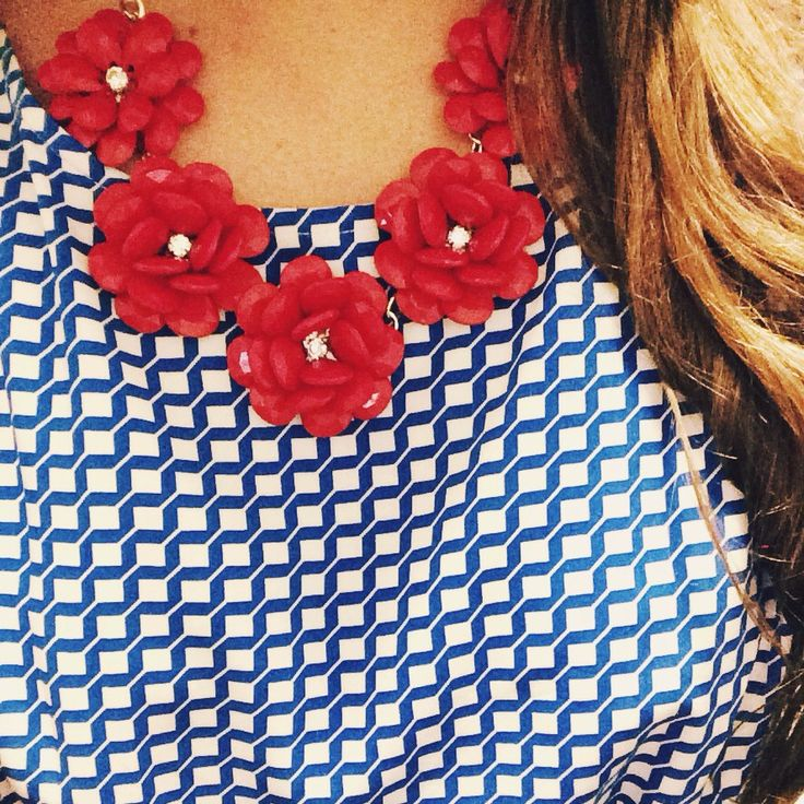 J crew flower necklace red dress