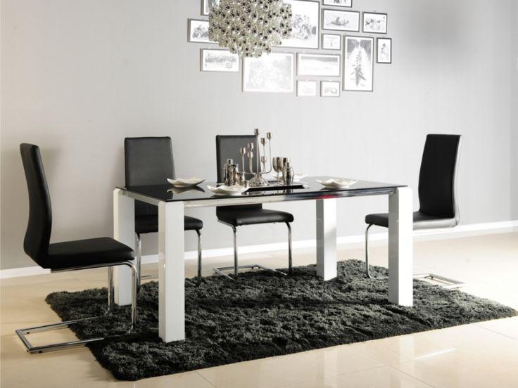 Table à manger IRENE - 6 couverts - Verre trempé et MDF laqué blanc